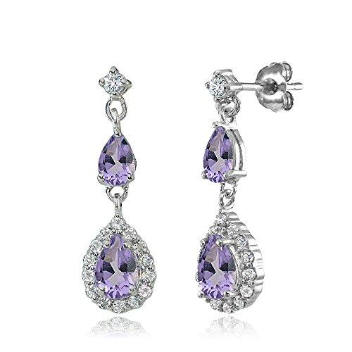 Amethyst Single Stone Ring - Sterling Silver Amethyst and White Topaz Fashion Teardrop Dangle Earrings