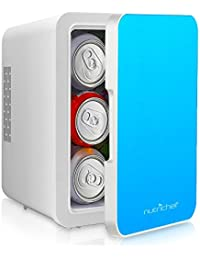 NutriChef Portable Mini Fridge - Personal Compact Electric Cooler and Warmer Box with 4 Liter / 6 can Storage, Includes 110V & 12V AC/DC Power for Home, Office, Car, RV & Boat