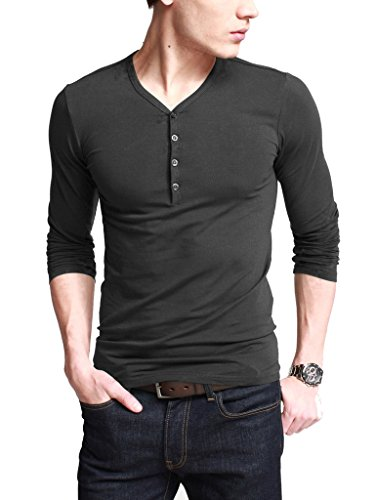 iLoveSIA Mens Henley T-shirts With Long Sleeve Slim Fit Deep Gray Size L plus