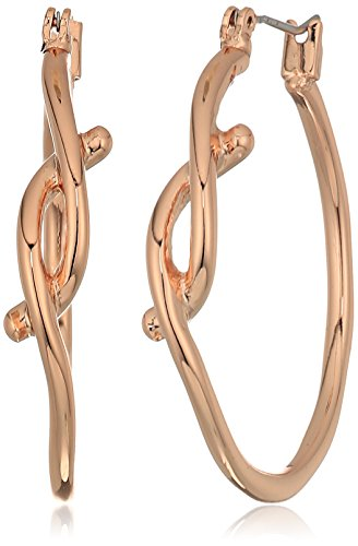 - Robert Lee Morris Women's Rose Gold Knot Hoop Earrings, One Size
