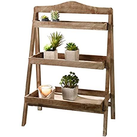 Foldable Wooden Plant Stand For Outdoor Or Greenhouse Three Shelves Product SKU GD221582