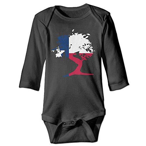 (Q98BABY Newborn Baby Boys Girls Long Sleeve Climb Jumpsuit Japanese Bonsai Tree Texas Print Jumpsuit Onesie Black)