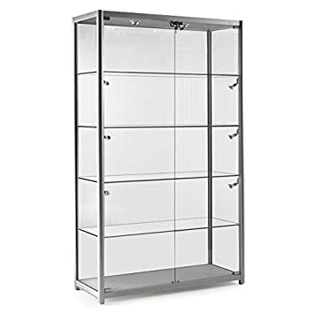 Silver Glass Display Cabinet with 10 Lights - 1200mm: Amazon.co.uk ...
