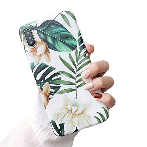 Leaf Phone Cover - iPhone Xs Case for Girls, ooooops Green Leaves with White & Brown Flowers Pattern Design, Slim Fit Clear Bumper Soft TPU Full-Body Protective Cover Case for iPhone X/XS 5.8'' (Leaves & Flowers)