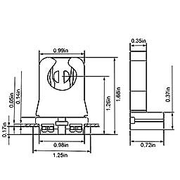 JACKYLED UL Listed Non-shunted T8 Lamp Holder Socket Tombstone for LED Fluorescent Tube Replacements Turn-type Lampholder Medium Bi-pin Socket for Programmed Start Ballasts 20 Pack