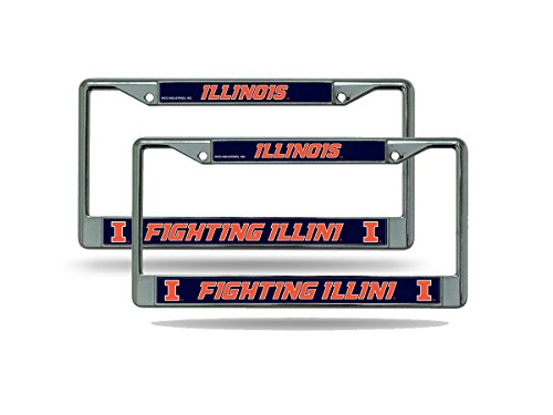 Rico Illinois Illini NCAA Chrome Metal (2) License Plate Frame -