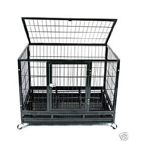 42'' Professional Superior Quality Heavy Duty Dog Pet Cat Crate Cage Kennel On Wheels *Silver*