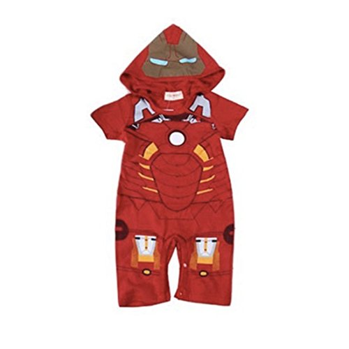 Baby Girl Iron Man Costume (Newborn Baby Boys Captain America IronMan Hoodie Costume Jumpsuit Bodysuit (95(18-24 months), Red))