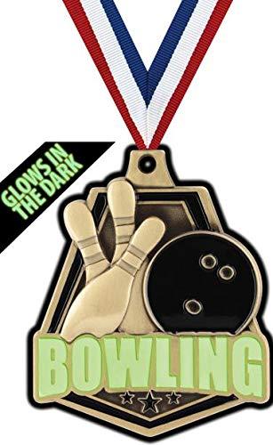 Crown Awardsゴールドボーリングメダル - 2インチ 暗闇で光る ボーリングキャプテンメダル B07GT9CY2B