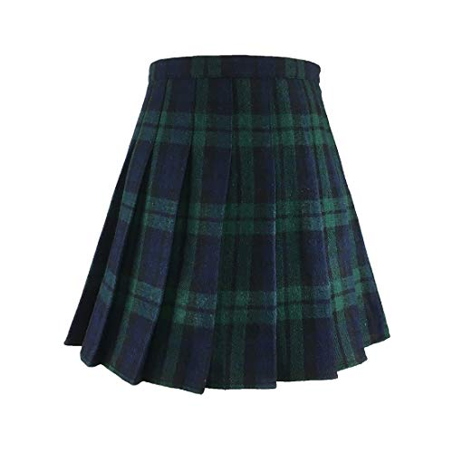 Hoerev Women Girls Versatile Plaid Pleated Skirt with Shorts for Cold Weather ()
