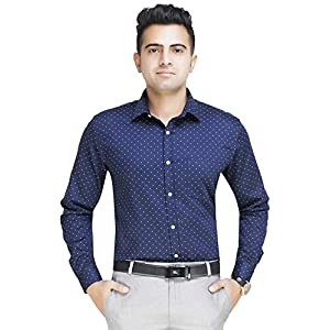 Fyster Men's Printed Regular Fit Poly Cotton Fabric Full Sleeves Formal Shirts for Mens & Boys (Navy Blue)