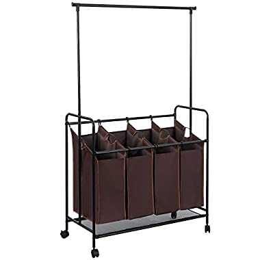 SONGMICS 4-bag Rolling Laundry Sorter with Hanging Bar Heavy-duty Laundry Cart Hamper with 4 Wheels Larger Bags Dark Brown URLS44Z