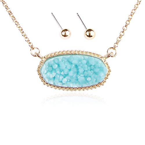- RIAH FASHION Acrylic Faux Druzy Jewel Stone Hexagon Oval Pendant Necklace - Delicate Chain/Sparkly Crystal Beaded Strand (Long Hexagon Chain - Aqua)