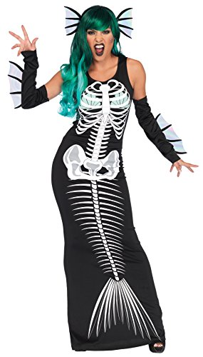 UHC Women's Skeleton Siren Outfit Mermaid Fancy Dress Adult Halloween Costume, S/M (4-8) - Mermaid Scary Costume