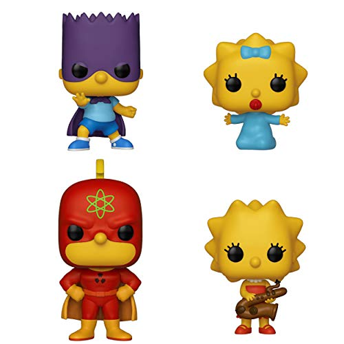 Funko Animation: Pop! Simpsons Collectors Set 1 - Homer Radioactive Man, Bart Bartman, Lisa with Saxophone, Maggie