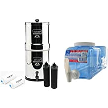 Big Berkey BK4X2 Countertop Water Filter System with 2 Black Berkey Elements and 2 Fluoride Filters w/ Fridge Stack Beverage Container