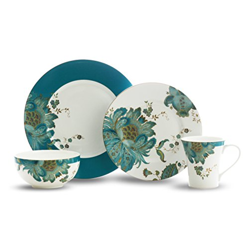 Eliza Teal 16 Piece Dinnerware Set