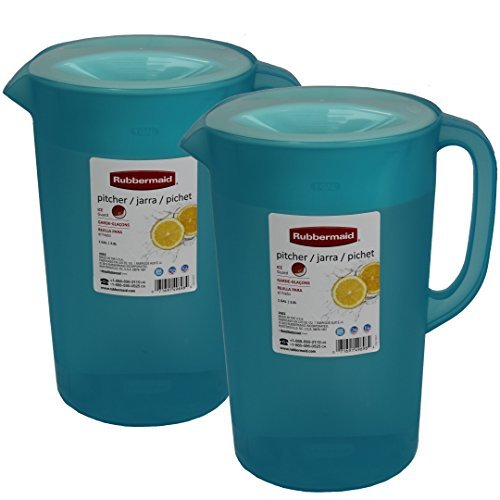 Rubermaid B01KU3IKYO Rubbermaid 1 Gallon Classic, Pack of 2 Blue Pitchers