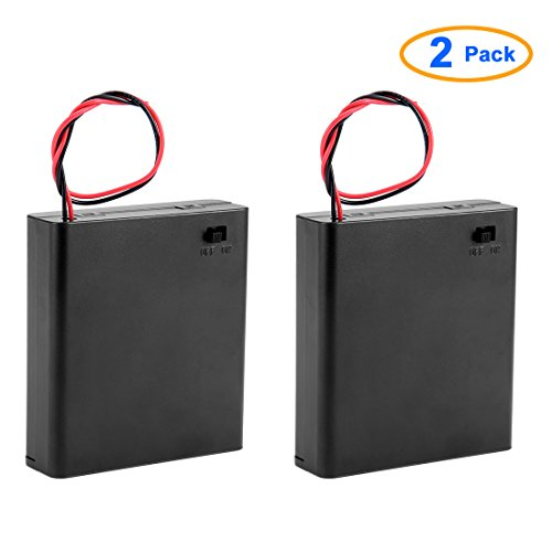 Saim AA 6V Battery Holder Case Wired ON/OFF Switch w Cover Pack of 2
