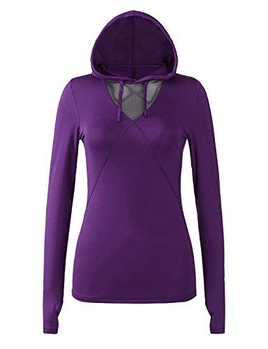 REGNA X Crew neck Long Sleeve Cool Dri Performance Yoga Tee for Women Purple (Cool Crew Jacket)