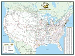 The Railroads Of The Contiguous United States Laminated Wall Map - Railroad-us-map