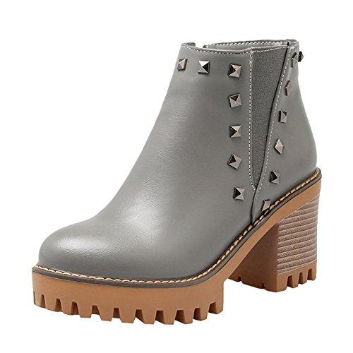 Mee Shoes Damen Reißverschluss Plateau Ankle Boots Grau