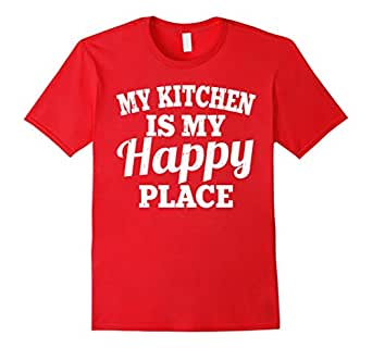 Men's My Kitchen Is My Happy Place Shirt: Funny Chef Cooking Gift 3XL Red