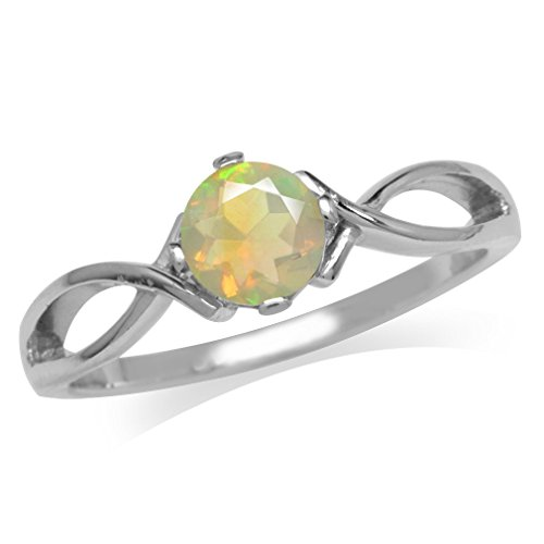 Genuine Opal White Gold Plated 925 Sterling Silver Solitaire Ring Size 10 ()
