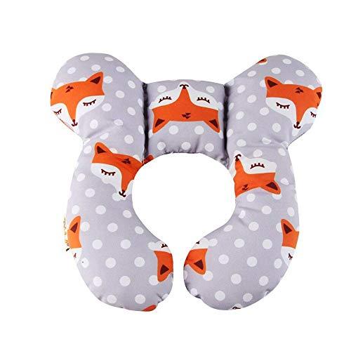 Neugeborene Baby Reise Kissen, Baby-Nackenstützkissen für Kinderautositz des Babys Kopf, Verhindert das Abkippen des Kopfes im Schlaf, 100% Baumwolle, Orangenfuchs
