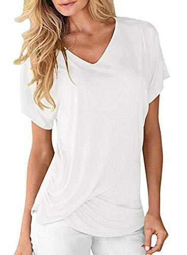 Shirt Plier Manche Confortable Shirts Tshirt Uni Et Branch lgant Casual Courtes T Fille Haut Manches Femme Blanc Mode Classique V Cou ZZFTPq