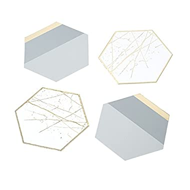 Talking Tables Modern Metallics Hexagonal Table Card Coasters (12 Pack), Multicolor