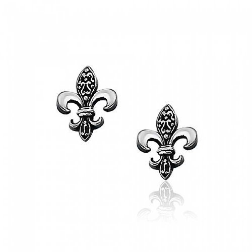 (Antique Style Two Tone Oxidized Fleur De Lis Symbol Stud Earrings For Women 925 Sterling Silver 14MM)
