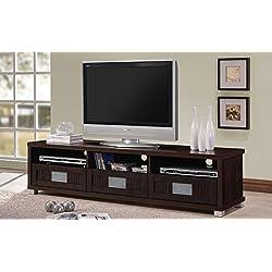 "Wholesale Interiors Baxton Studio Gerhardine Wood TV Cabinet with 3-drawer, 63"", Dark Brown"