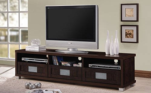 "Baxton Studio Wholesale Interiors Gerhardine Wood TV Cabinet with 3-Drawer, 63"", Dark Brown"