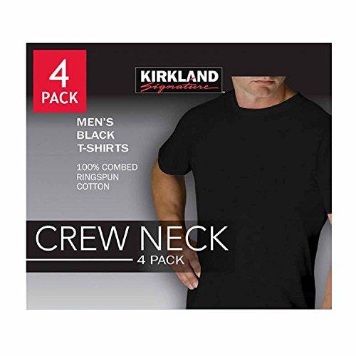 Kirkland Men's Crew Neck Black T-shirts 4Pack | aTeeShirts.com