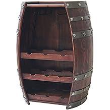 Wine Barrel 9 Bottle Wine Holder W/ Glass Racks