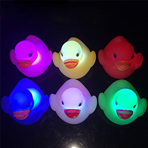 duck Bath Toys Led Light Water Swimming Child's Play Mouth M