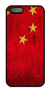 Grunge Chinese Flag15 PC Case Cover for iPhone 5 and iPhone 5s Black