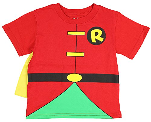 DC Comics Toddler costume Robin Caped T-Shirt, Red, 3T (Robin Shirt Costume)