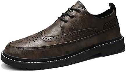男性のフォーマルシューズレースアップスタイルマイクロファイバーレザー糯靴ひも翼端ブローグのためのビジネスオックスフォード通気性の彫刻が並びます YueB HAR (Color : カーキ, サイズ : 25 CM)