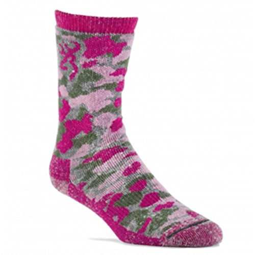 Browning Women's Wool Blend Camo Crew Socks | Camo Pink | Medium | One Pair ()