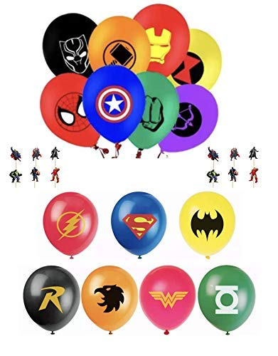 The Avengers and Justice League Superhero Emblem 15 Count Party Balloon Pack - Large 12