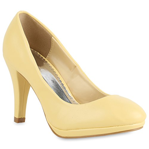 Stiefelparadies Klassische Damen Pumps Stiletto High Heels Leder-Optik Schuhe Flandell Gelb