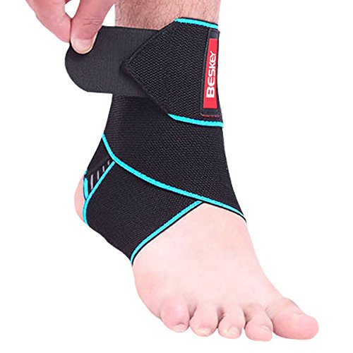 Beskey Ankle Support Adjustable Ankle Brace Breathable Nylon Material Elastic and Comfortable 1 Size Fits all, Use for Sports Protect Against Chronic Ankle Strain, Sprains Fatigue, Blue