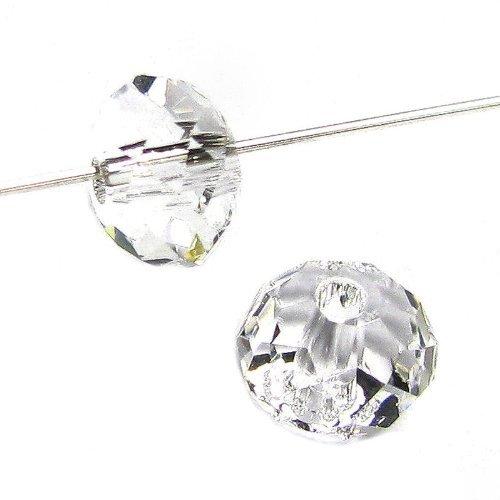 Swarovski Crystal Spacers (4 pcs Swarovski Crystal 5040 Briolette Rondelle Bead Spacer Clear 8mm / Findings / Crystallized Element)