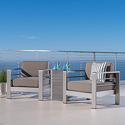 GDF Studio Crested Bay Patio Furniture ~ Outdoor Aluminum Patio Chairs with Side Table (Chat Set)(Khaki/Natural) - INCLUDES: Two (2) Aluminum Outdoor Chairs and One (1) ALuminum Outdoor Side Table ENJOY LIFE! ~ Spending Time Outside on Your Backyard Patio is One of Life's True Pleasures, Sitting Quietly Reading a Book, or Enjoying the Company of Family and Friends, Your New Outdoor Conversation Set Will Fast Become a Favorite Place to Sit. DURABLE OUTDOOR ALUMINUM FRAME ~ Provides Rust Resistance and Durability for Years of Enjoyment. Live in a Warm Humid Climate? (Florida We're Looking at You) Then This is the Patio Chair Set For You. No Rust Stains on The New Deck or Patio - patio-furniture, patio, conversation-sets - 41Px28%2BNOeL. SS400  -
