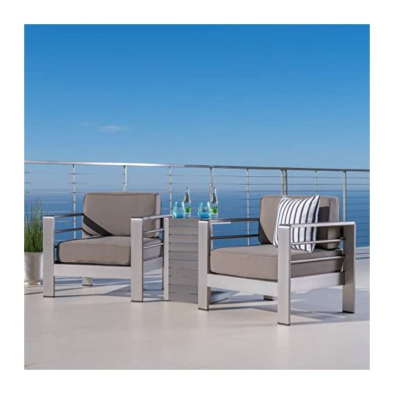 GDF Studio Crested Bay Patio Furniture ~ Outdoor Aluminum Patio Chairs with Side Table (Chat Set)(Khaki/Natural) - INCLUDES: Two (2) Aluminum Outdoor Chairs and One (1) ALuminum Outdoor Side Table ENJOY LIFE! ~ Spending Time Outside on Your Backyard Patio is One of Life's True Pleasures, Sitting Quietly Reading a Book, or Enjoying the Company of Family and Friends, Your New Outdoor Conversation Set Will Fast Become a Favorite Place to Sit. DURABLE OUTDOOR ALUMINUM FRAME ~ Provides Rust Resistance and Durability for Years of Enjoyment. Live in a Warm Humid Climate? (Florida We're Looking at You) Then This is the Patio Chair Set For You. No Rust Stains on The New Deck or Patio - patio-furniture, patio, conversation-sets - 41Px28%2BNOeL. SS570  -