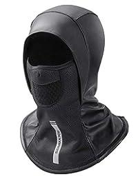 ROCKBROS Ski Mask Balaclava Men Winter Windproof Full Face Cover Leather Black