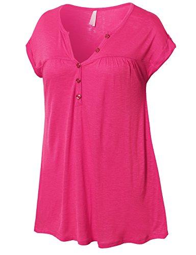 H2H Women's Basic Button V Neck Henley T-Shirt Knited Top Fushcia US M/Asia M (AWTTS0346) -