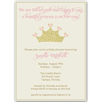 Amazon princess baby shower invitations girl pink gold princess baby shower invitations girl pink gold crown sparkle filmwisefo